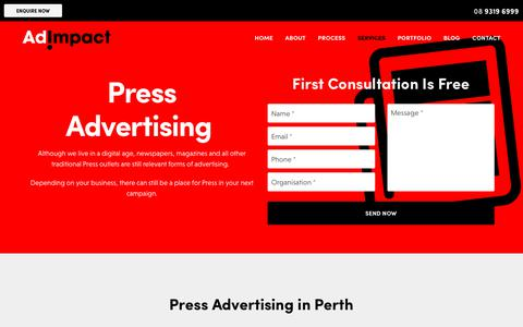 Screenshot of Press Page adimpact.com.au - Print Advertising in Perth - Ad Impact - captured Nov. 6, 2018