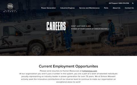 Screenshot of Jobs Page simson-maxwell.com - Careers   Simson Maxwell - captured Sept. 21, 2018