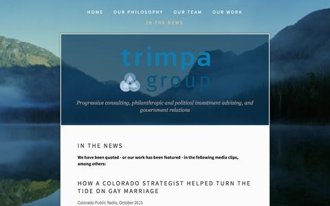 Screenshot of Press Page trimpagroup.com - In the News — Trimpa Group - captured Feb. 25, 2016