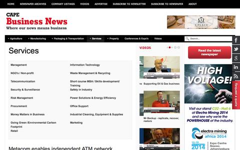 Screenshot of Services Page cbn.co.za - Services - Cape Business News - captured Sept. 19, 2014