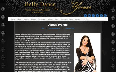 Screenshot of About Page bellydancebyyvonne.com - About - Belly Dance by Yvonne - captured Nov. 2, 2014