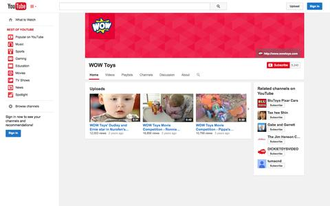 Screenshot of YouTube Page youtube.com - WOW Toys  - YouTube - captured Oct. 26, 2014