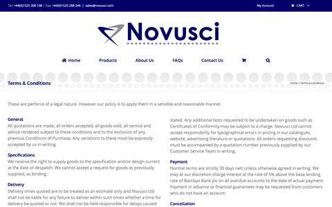 Screenshot of Terms Page novusci.com - Website terms and conditions - Terms and conditions of use - captured Oct. 20, 2018