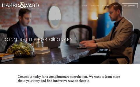 Screenshot of Contact Page harrisandward.com - Get Started — HARRIS & WARD - captured Oct. 2, 2014