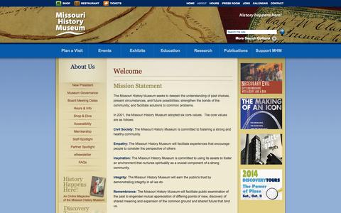 Screenshot of About Page mohistory.org - Welcome | Missouri History Museum - captured Sept. 19, 2014