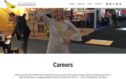 Screenshot of Jobs Page bananagrams.com - Careers |  Bananagrams - captured Nov. 11, 2018