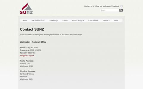 Screenshot of Contact Page weebly.com - Contact Us - SUNZ - captured Sept. 17, 2014