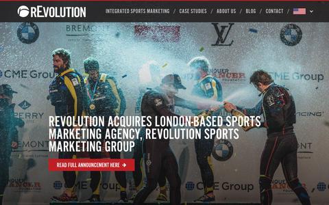 Screenshot of Home Page revolutionworld.com - rEvolution | Integrated Sports Marketing, Built for Brands - captured Oct. 19, 2018