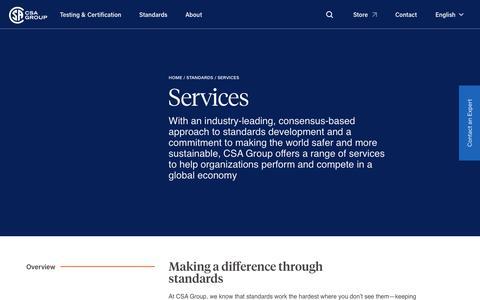 Screenshot of Services Page csagroup.org - CSA Services – Standards Development | CSA Group - captured Nov. 29, 2018