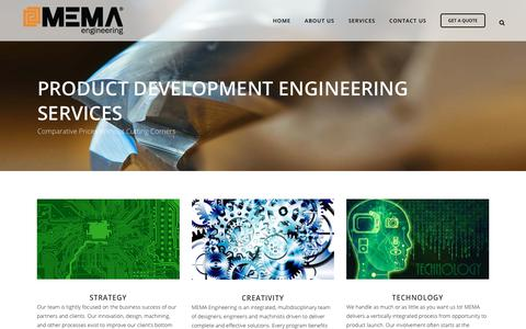 Screenshot of Services Page memaengineering.com - Product Development And Engineering Services - captured Oct. 1, 2018