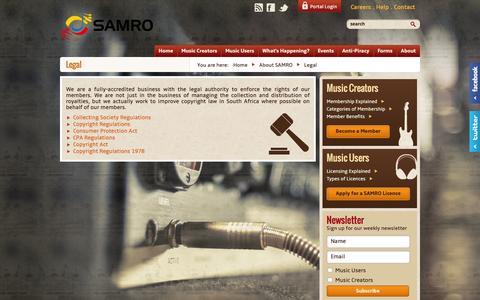 Screenshot of Terms Page samro.org.za - Legal Documentation | SAMRO - captured Dec. 19, 2015