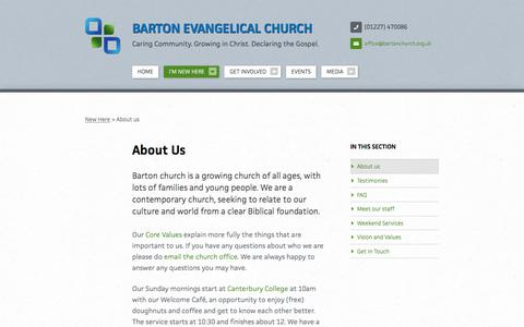 Screenshot of About Page bartonchurch.org.uk - About us   I'm New Here   Barton Evangelical Church - captured April 4, 2016
