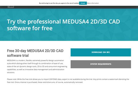 Screenshot of Trial Page cad-schroer.com - Free CAD Software Trial | MEDUSA4 - captured Oct. 26, 2018