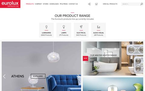 Screenshot of Products Page eurolux.co.za - Explore Our Range of Products   LED Lighting   Eurolux - captured Sept. 29, 2018