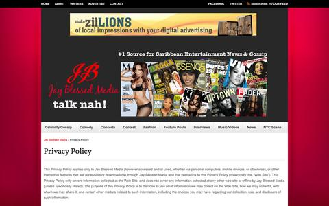 Screenshot of Privacy Page jayblessed.com - Privacy Policy | Jay Blessed Media - captured Oct. 6, 2014