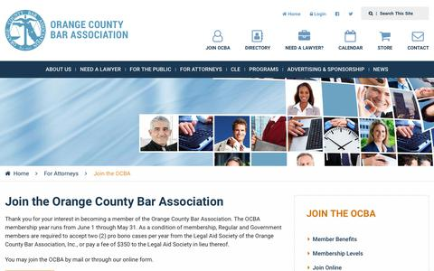 Screenshot of Signup Page orangecountybar.org - Join the OCBA | Orange County Bar Association - captured Oct. 18, 2018