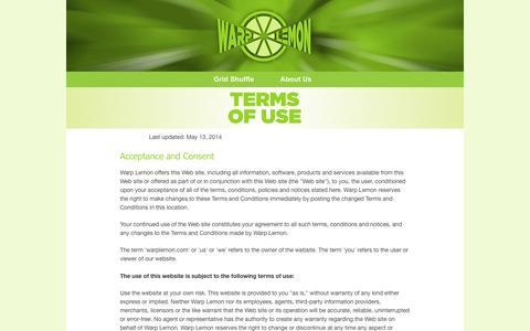 Screenshot of Terms Page warplemon.com - Warp Lemon - Terms of Use - captured Oct. 8, 2014
