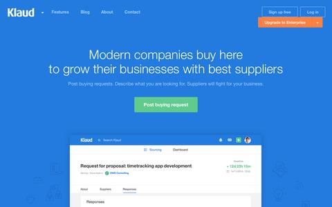 Screenshot of Home Page klaud.co - Klaud - Companies buy here to grow their businesses with best suppliers - captured June 17, 2015