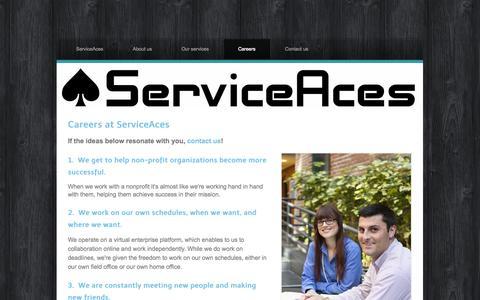 Screenshot of Jobs Page serviceaces.com - Careers - www.ServiceAces.com - captured Sept. 30, 2014