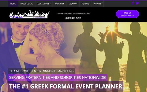 Screenshot of Home Page teamexp.com - Event Planning | Event Coordinator | Special Events Coordinator  - T.E.A.M. - captured Feb. 13, 2016