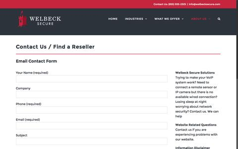 Screenshot of About Page welbecksecure.com - Contact Us / Resellers | Welbeck Secure - captured Aug. 19, 2016