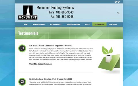 Screenshot of Testimonials Page monumentgreenroof.com - Testimonials - Monument Roofing Systems - Commercial Roofs - captured Oct. 20, 2017