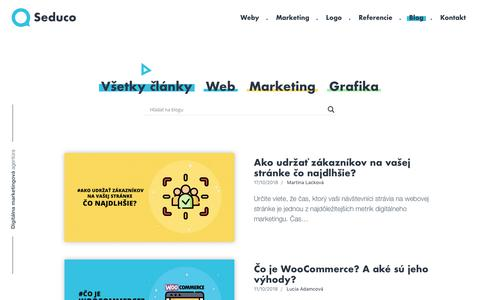 Screenshot of Blog seduco.sk - Blog o online marketingu, tvorbe stránok a grafike | Seduco.sk - captured Oct. 19, 2018