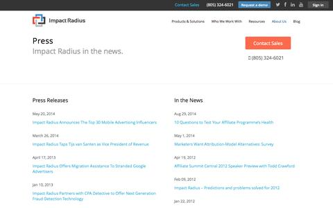 Screenshot of Press Page impactradius.com - Impact Radius | Press - Impact Radius - captured Sept. 16, 2014