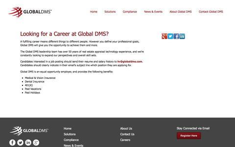 Screenshot of Jobs Page globaldms.com - Careers - captured July 19, 2018