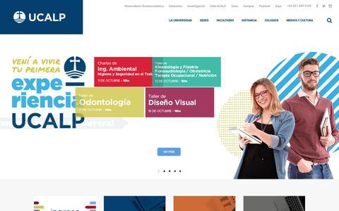 Screenshot of Home Page ucalp.edu.ar - Universidad Católica de La Plata | Abierta la inscripción - captured Oct. 18, 2018
