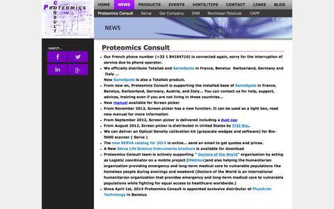 Screenshot of Press Page proteomicsconsult.com - NEWS - Proteomics Consult - captured Sept. 30, 2014