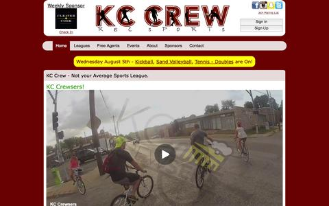 Screenshot of Home Page kc-crew.com - KC Crew Rec Sports - captured Aug. 5, 2015