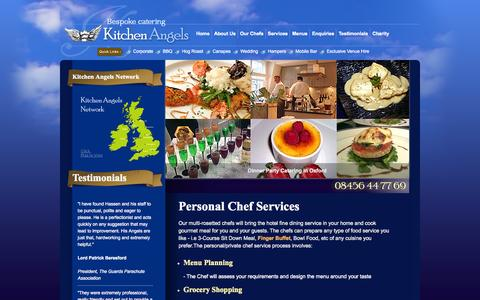 Screenshot of Menu Page kitchen-angels.com - Private Dinner Party Menus by Kitchen Angels' Personal Chefs - for London, Oxford, Berkshire and all UK - captured Sept. 30, 2014