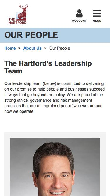 Screenshot of Team Page  thehartford.com - Our People & Management Team | The Hartford