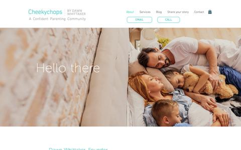 Screenshot of About Page cheekychops.ca - About | Cheekychops | A Confident Parent Community - captured Sept. 27, 2018