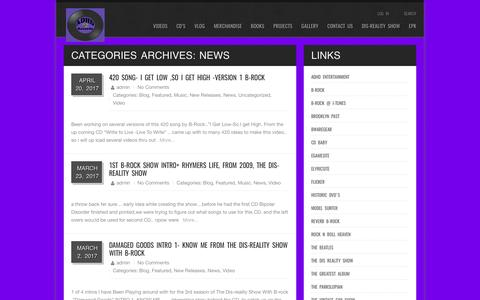 Screenshot of Press Page adhdrecords.com - News – ADHD RECORDS The Dis Reality Show with B-Rock - captured May 28, 2017
