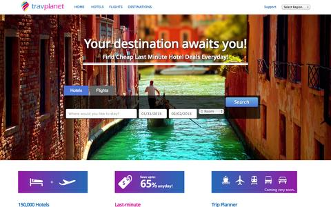Screenshot of Home Page travplanet.com - TravPlanet: Last Minute Hotel Deals | Cheap Hotels Deals - captured Jan. 28, 2015