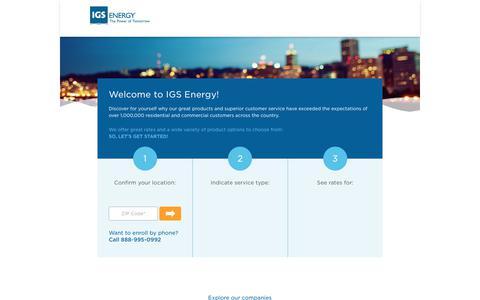 Screenshot of Signup Page igsenergy.com - Getting Started - captured Dec. 18, 2017