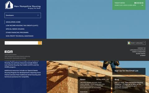 Screenshot of Developers Page nhhfa.org - Developers | New Hampshire Housing - captured Dec. 18, 2016