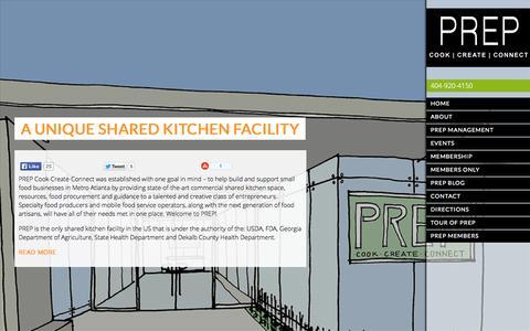 Screenshot of Home Page prepatl.com - PREP AtlantaA Unique Shared Kitchen Facility - PREP Atlanta - captured Oct. 1, 2014