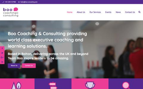 Screenshot of Home Page boo-consulting.com - Boo Coaching & Consulting | +44 1204 357980 - captured Aug. 2, 2018