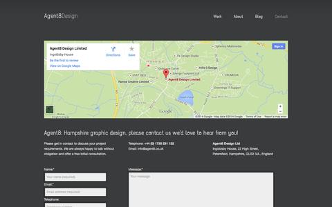 Screenshot of Contact Page agent8.co.uk - Hampshire graphic design - captured Oct. 4, 2014