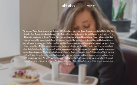 Screenshot of About Page onotes.com - About Us Ń oNotes - captured Jan. 20, 2016