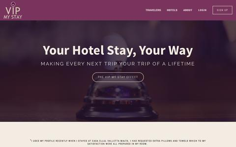 Screenshot of Home Page vipmystay.com - VIP My Stay — Travelers - captured Dec. 9, 2015