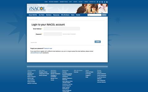Screenshot of Login Page inacol.org - iNACOL |   Login - captured Oct. 6, 2014