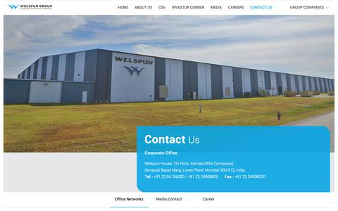 Screenshot of Contact Page welspun.com - Contact Us – Corporate Office – Welspun Group - captured May 24, 2019