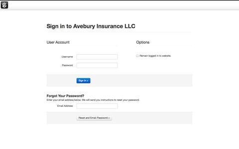 Screenshot of Login Page aveburyinsurance.com - Avebury Insurance LLC :: Login - captured Oct. 4, 2014