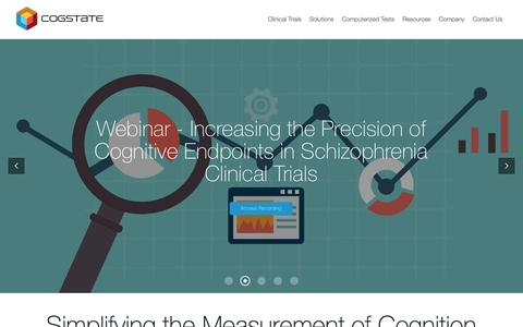 Screenshot of Home Page cogstate.com - Cogstate - Leaders in optimizing the measure of cognition - captured May 19, 2017