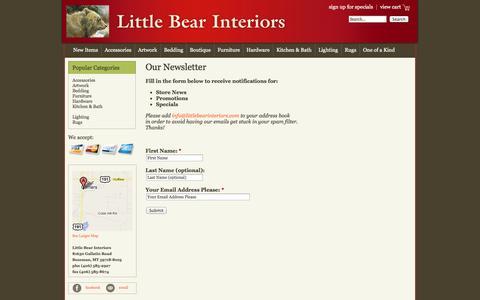 Screenshot of Signup Page littlebearinteriors.com - Our Newsletter | Little Bear Interiors.  The Best Furniture Store in Bozeman, MT - captured Sept. 30, 2014