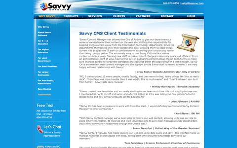 Screenshot of Testimonials Page besavvy.com - Web Content Management | Savvy Web Content Manager - ColdFusion CMS for Mac and PC - captured Jan. 7, 2017